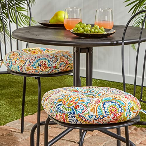 South Pine Porch AM5816S2-JAMBOREE Jamboree Paisley 15-inch Round Outdoor Bistro Chair Cushion