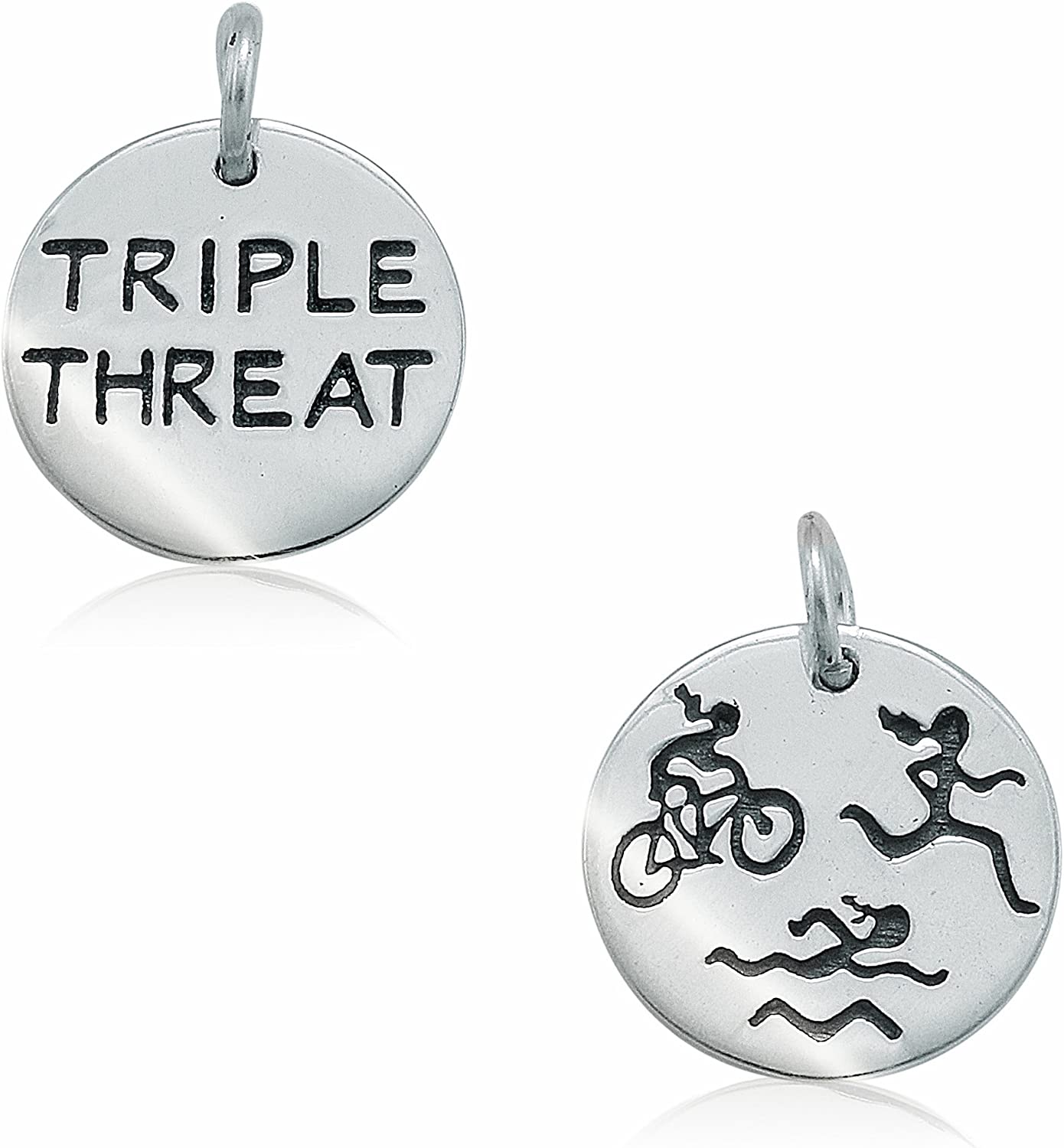 Lift Your Sole 5//8 Sterling Silver Swim Bike Run Figures Triple Threat Double Sided Round Charm