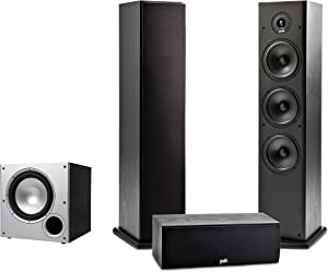 Polk Audio T Series 3.1 Channel Complete Home Theater System with Powered Subwoofer | One (1) T30 Center Channel, Two (2) T50 Tower Speakers | Wi-Fi, Alexa, HEOS Built-in