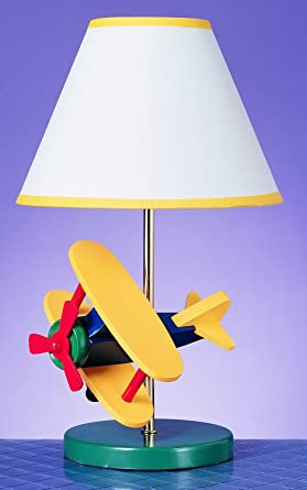 Cal Lighting BO 372 Kids Novelty Lamp With Yellow And White Fabric Shades,  Multi