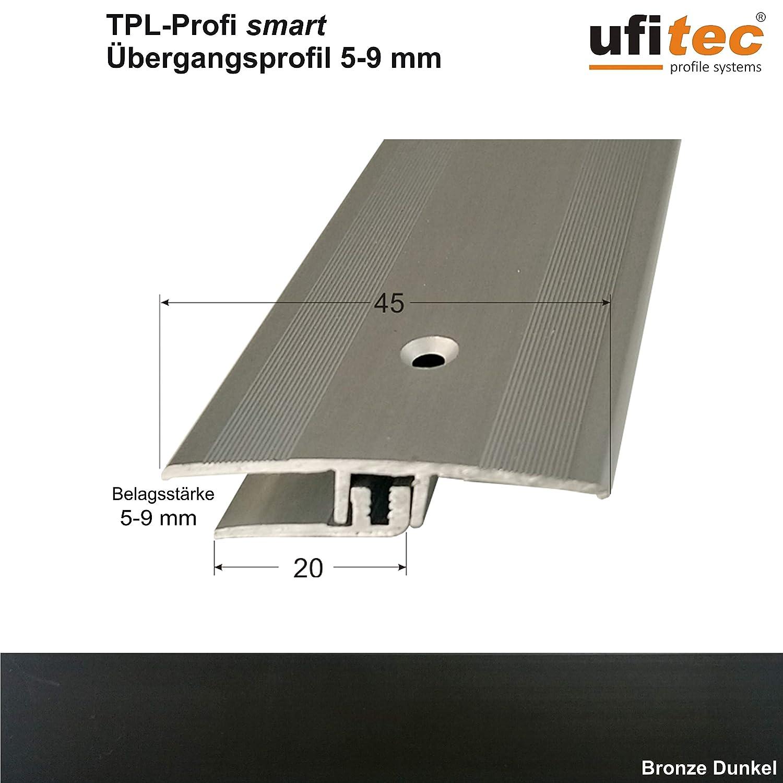 ufitec/® Profi Smart Profilsystem f/ür Vinylb/öden Dehnungsfugenprofil 45 cm breit | L/änge: 100 cm, Silber geeignet f/ür Belagsh/öhen von 5-9 mm ALU eloxiert