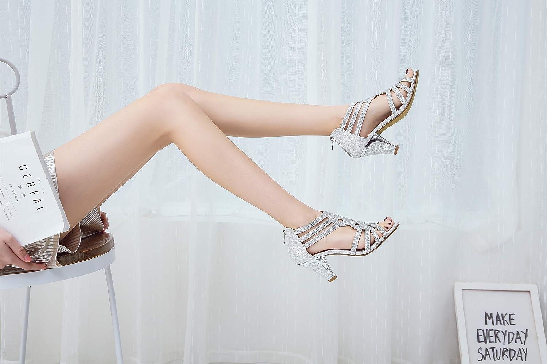 Ashley A Womens Lexie Crystal Dress Heels Low Heels Wedding Shoes,L-KINI25