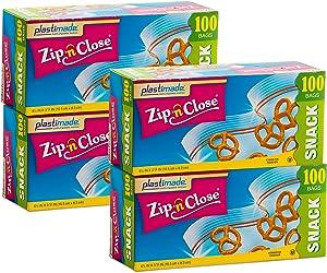 Plastimade Zip 'N Close Snack Bags, 100 Count, Pack of 4