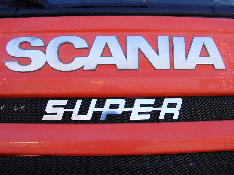 Unbekannt Logo Super Frontal de espejo de acero inoxidable pulido para todas las series Trucker escudo cabina decoración accesorios