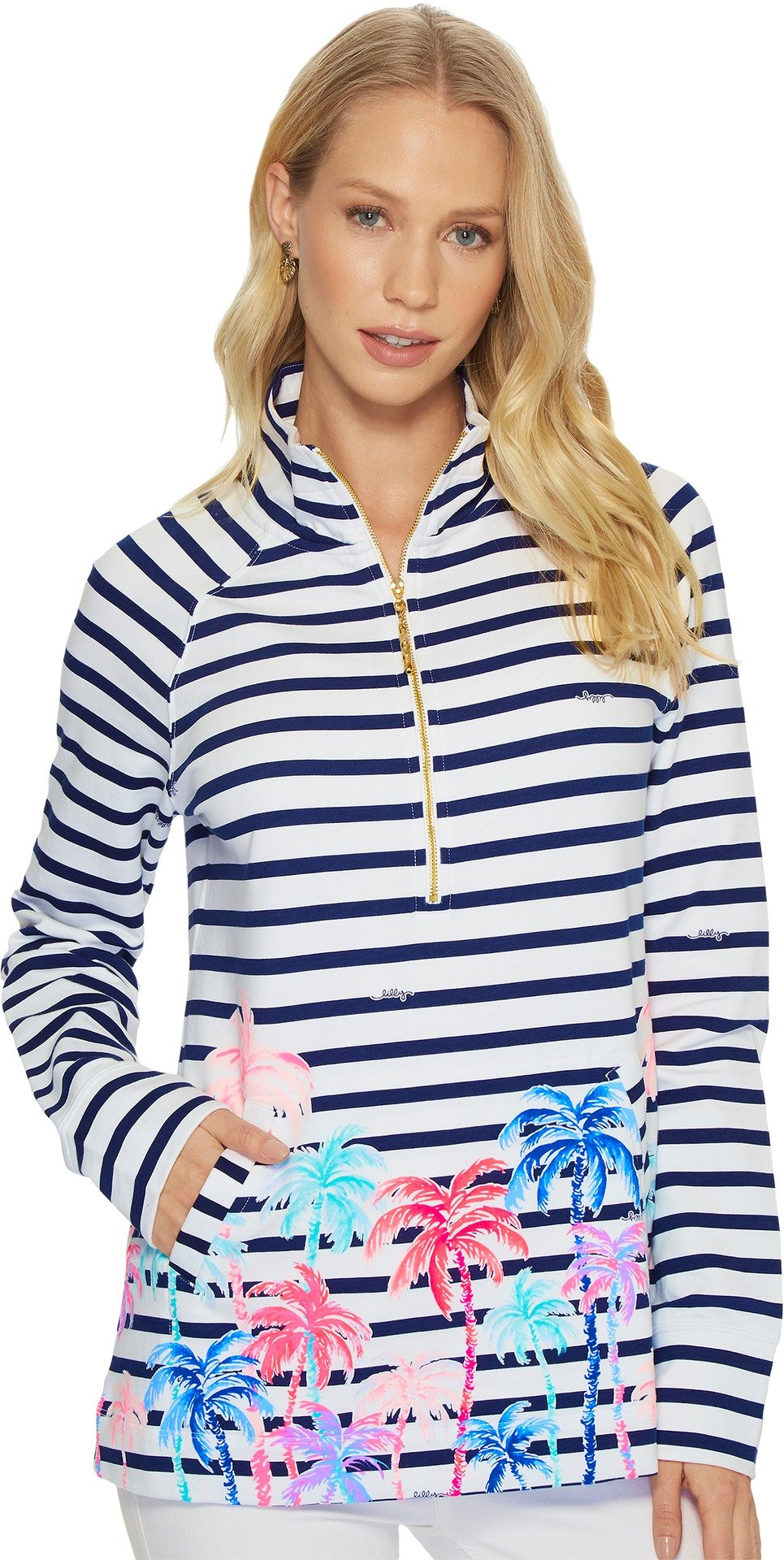 Lilly Pulitzer Women's UPF 50+ Skipper Popover Resort White Desert Palm Stripe Engineered Skipper XX-Small