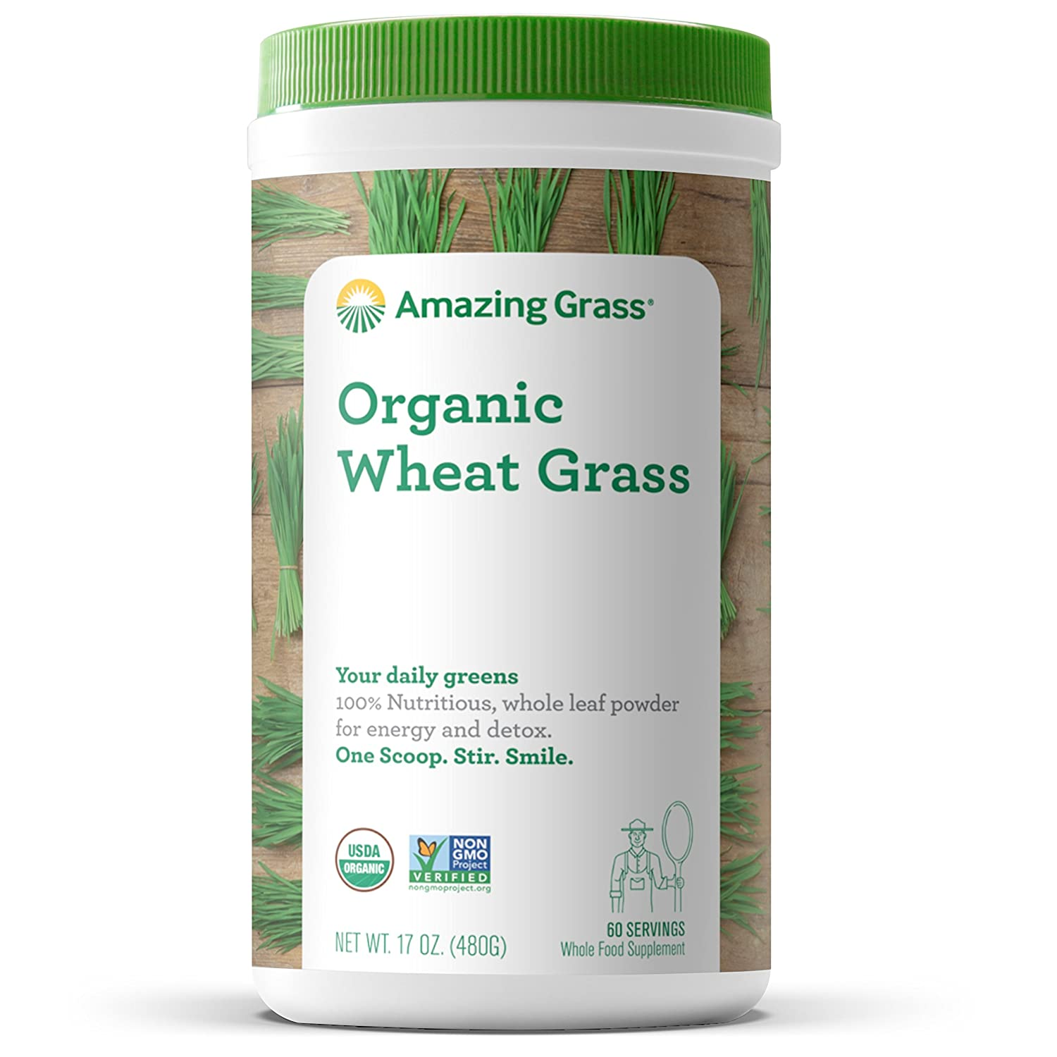 Amazing Grass Organic Wheat Grass Powder: 100% Whole-Leaf Wheat Grass Smoothie Booster, 60 Servings
