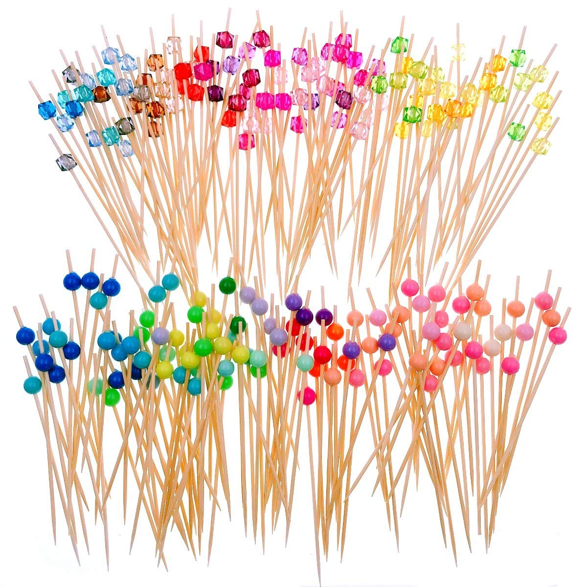 JZK 200 Bamboo Wooden Cocktail Stick with Colourful Acrylic Bead 12cm Long Toothpick for Party Nibbles Tapas Sandwich canapes appetiser Fruit Skewer
