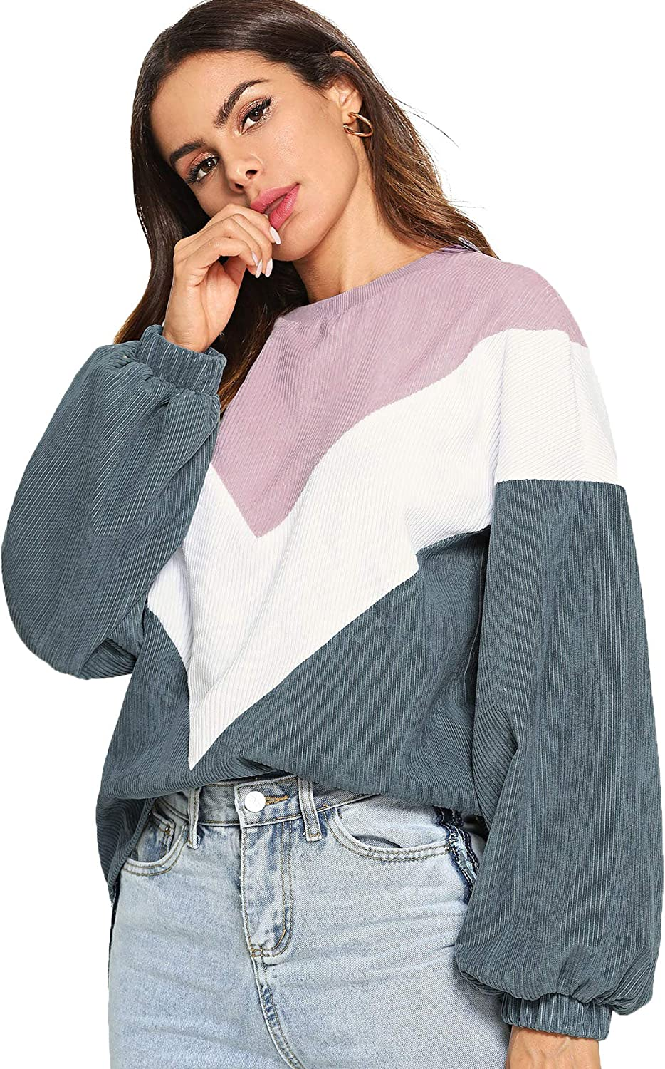 coollight Women Long Sleeve Crew Neck Pullovers Stitching Color Loose Knitted Sweaters