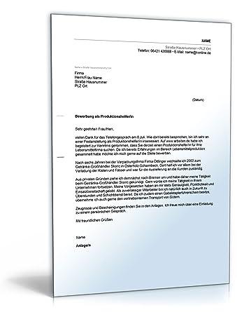anschreiben bewerbung produktionshelfer word dokument - Anschreiben Produktionshelfer