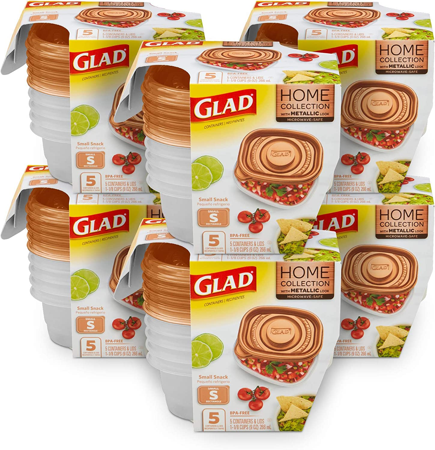 Glad Food Storage Containers, 5 Count (Pack of 6), Home Collection, 6