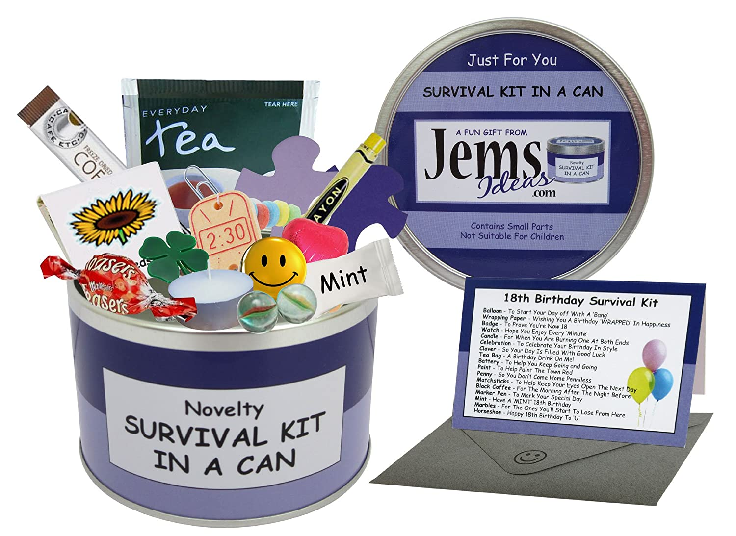 6b5d2d61 18th Birthday Survival Kit In A Can. Novelty Fun Gift - Humorous Happy 18th  Present & Card All In One. Customise Your Can Colour.