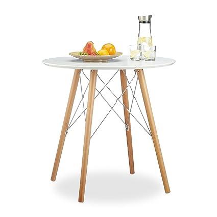 Relaxdays Küchentisch klein ARVID 72 x 75 x 75 cm HxBxT, Esstisch für  kleine Küche, Holztisch nordischer Stil, weiß