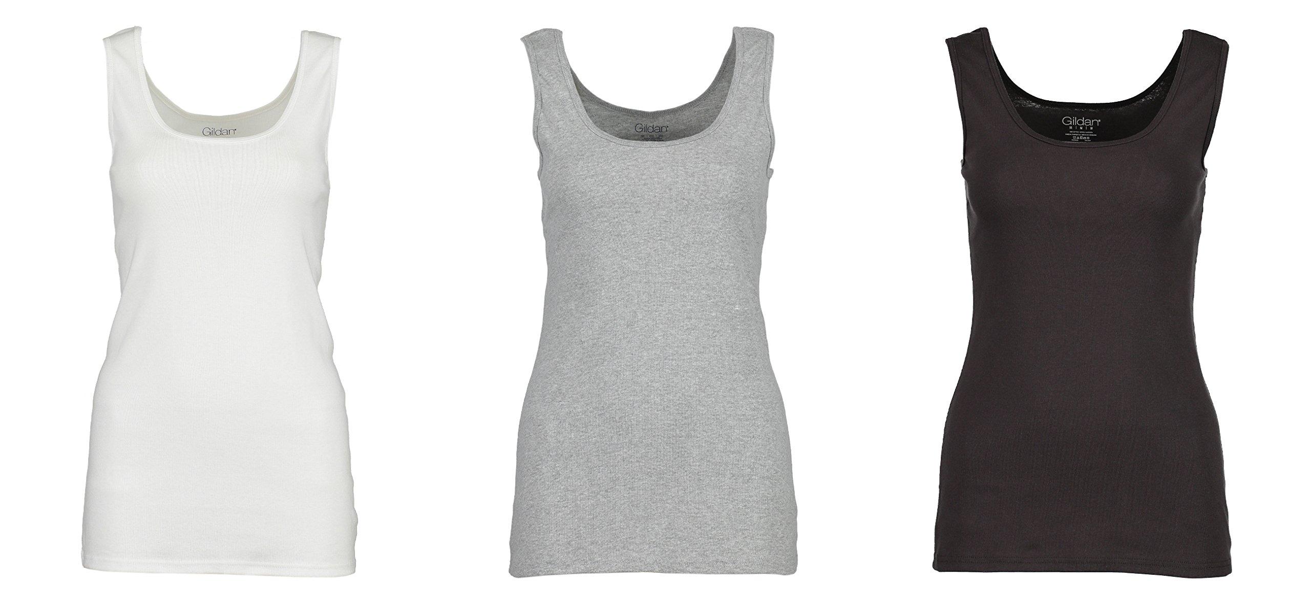 3-Pack Gildan Women's Tank Tops, 100% Cotton Ribbed Ladies Layering Gym Tank Top Shirts (White, Grey, Smoke, Small)