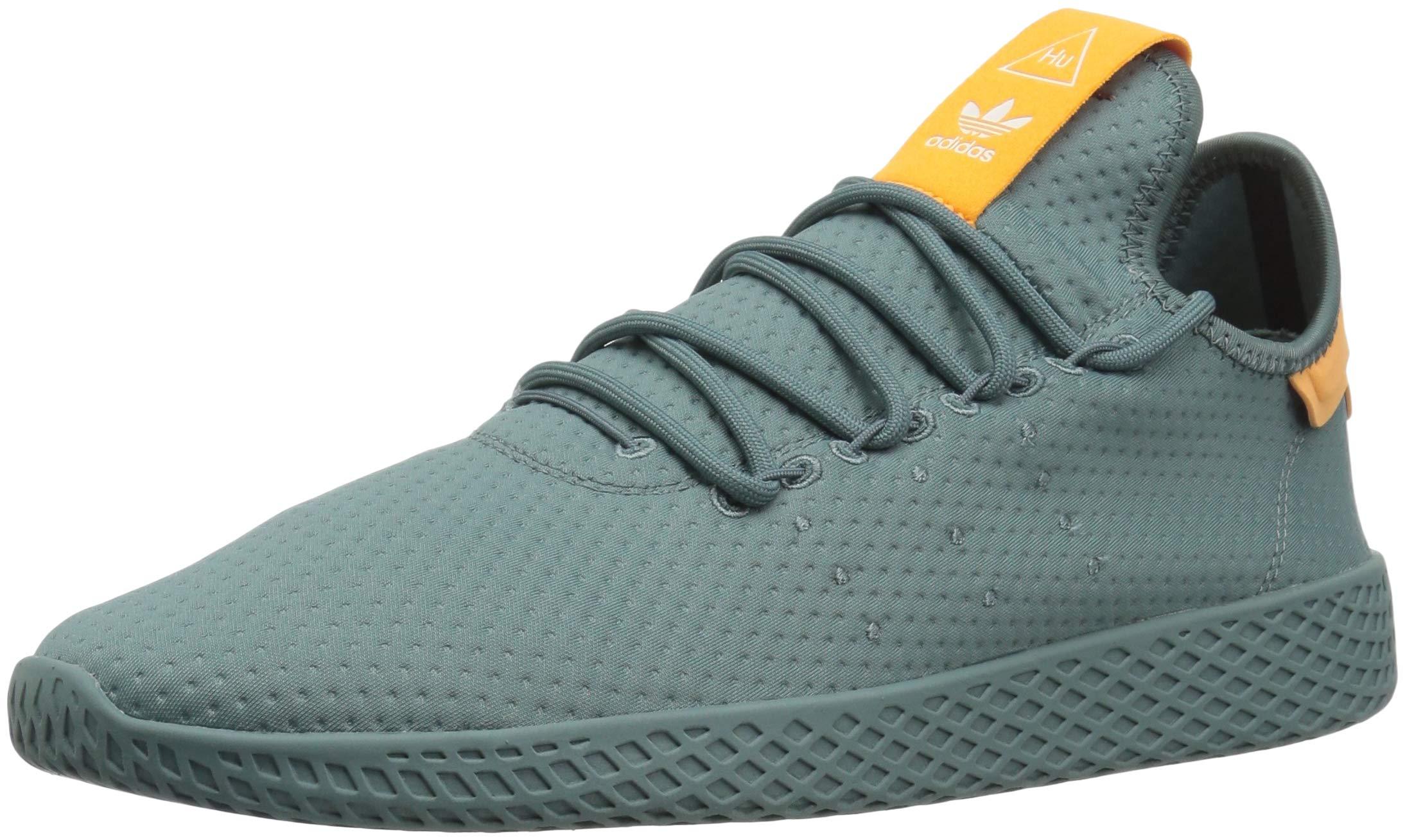adidas Originals Men's Pharrell Williams Tennis HU Running Shoe, raw Green/Off White, 4 M US