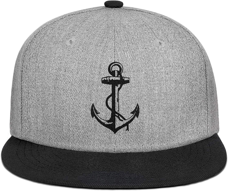 Black Anchor Cross Mens Womens Wool Trucker Cap Adjustable Snapback Sun Hat