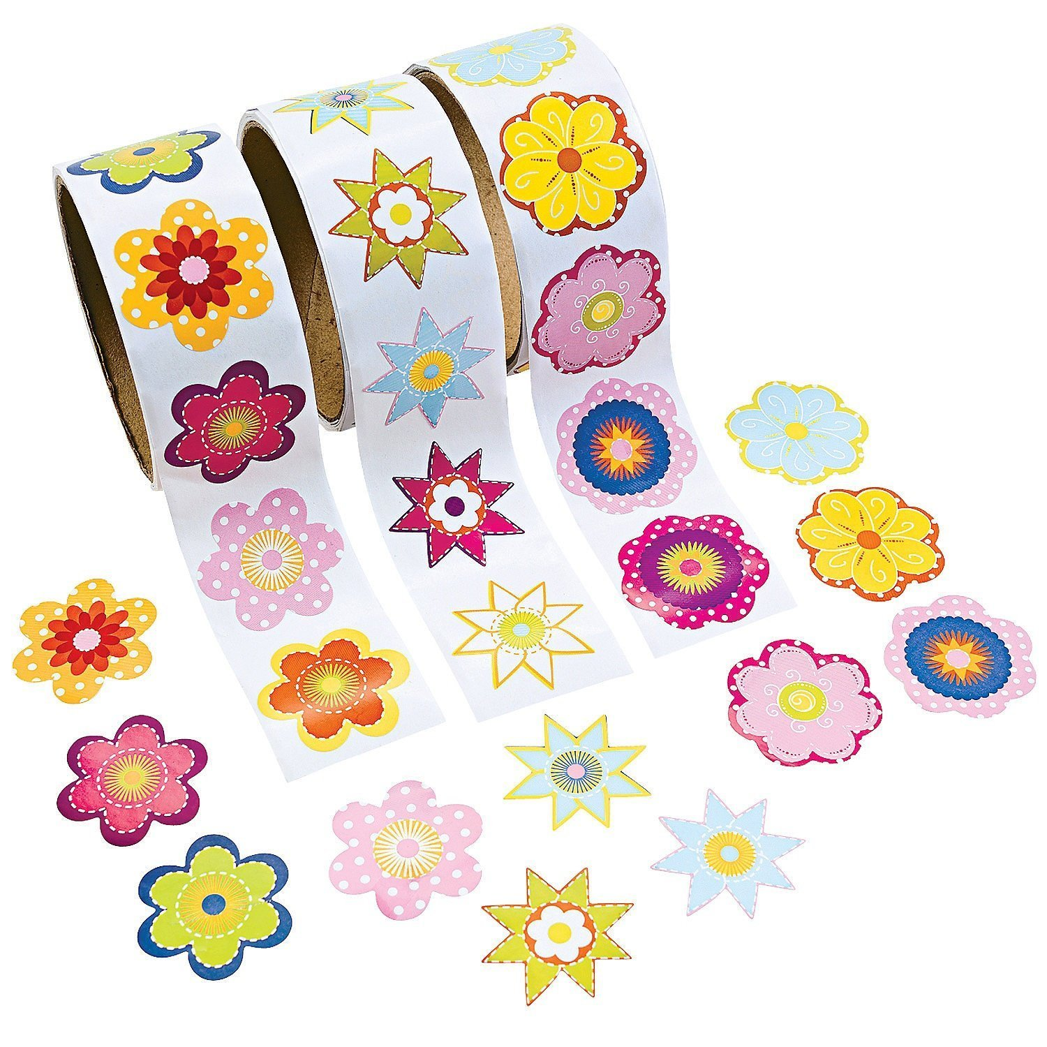Amazon com fun express 3 roll flower stickers 300 piece 1 5 toys games