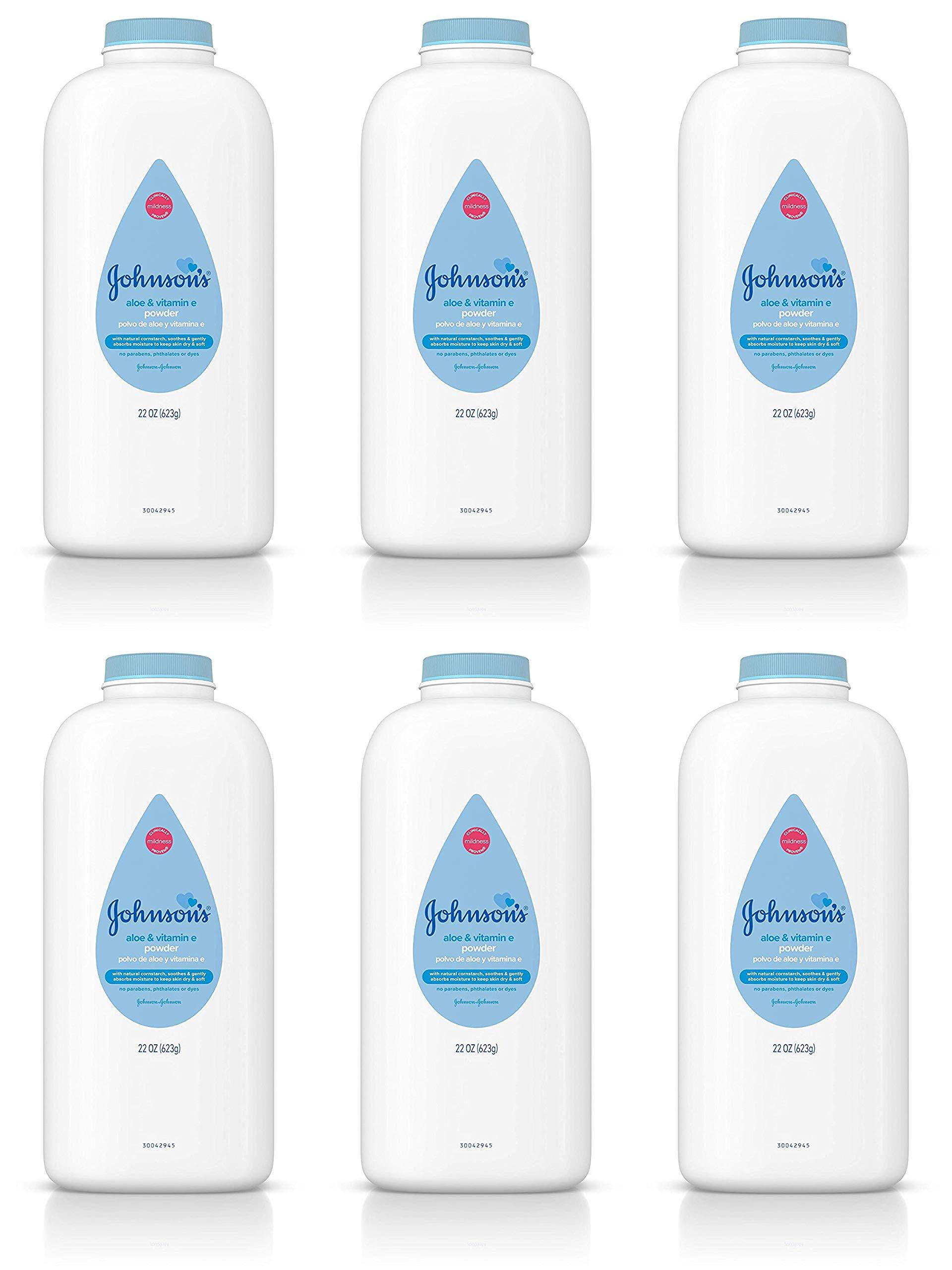 Johnson & Johnson Baby Powder with Aloe & Vitamin E Pure Cornstarch 22 oz. (Pack of 6) by Johnson & Johnson