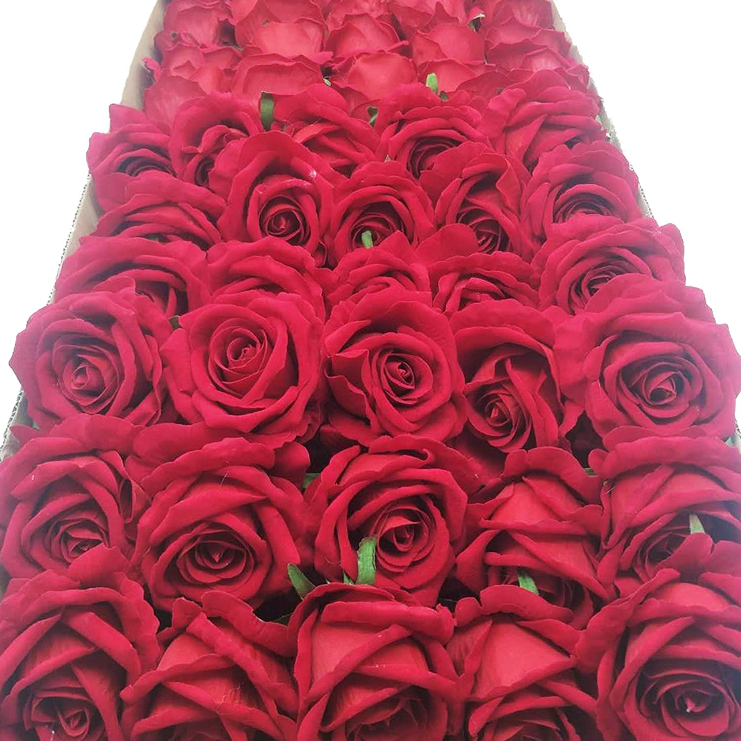 cn-Knight Artificial Flower in Bulk Wholesale 20pcs 10'' Velvet Silk Rose with Wire Stem Real Looking Fake Flower for Wedding Bouquet Bridal Shower Home Décor Flower Wall Hair Flower Hat Trim (Red)