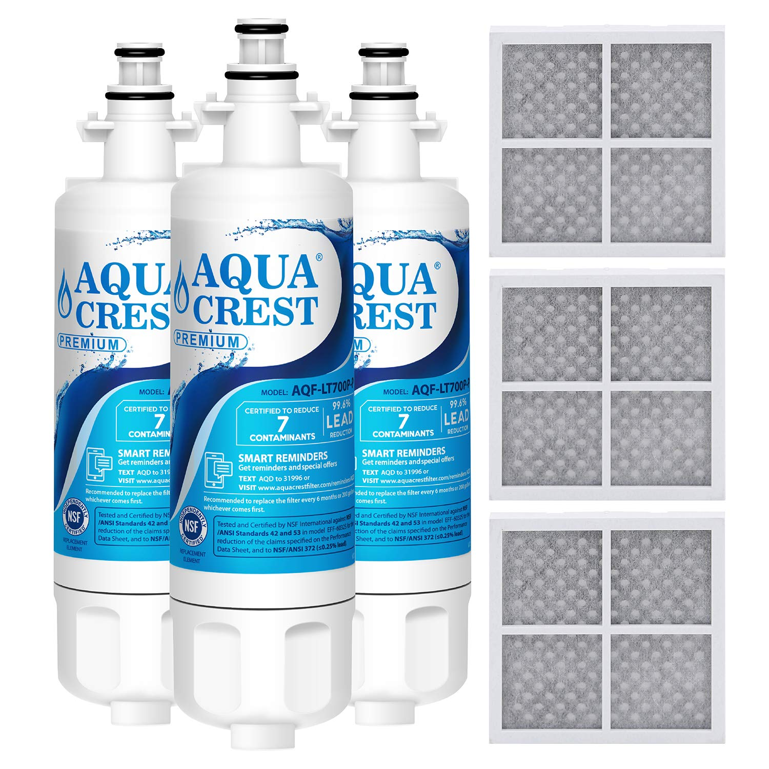 AQUACREST ADQ36006101 NSF 53&42 Refrigerator Water Filter and Air Filter, Compatible with LG LT700P, Kenmore 9690, 46-9690, ADQ36006102 and LT120F (Pack of 3)
