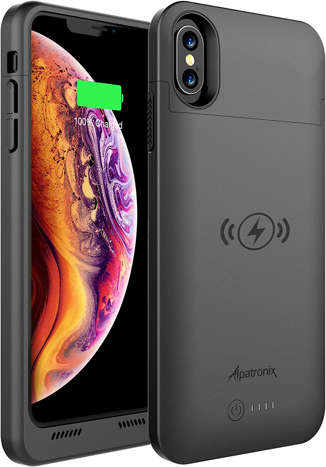 Alpatronix 4200mAh Battery Case with Qi Wireless Charging Compatible for iPhone Xs & X (5.8-inch) (Black)