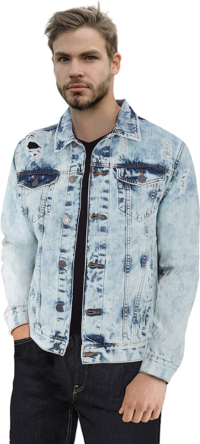 GINGTTO Mens Distressed Denim Trucker Jackets Slim Fit with Patches