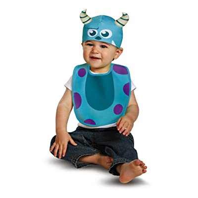 Disguise Baby's Disney Pixar Monster's University Sulley Infant Bib and Hat, Blue/Purple/White, 0-6 Months: Clothing