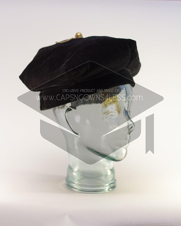 20.5-21.9 FDL Tams Doctoral Tam Black velvet 6-sided w//Gold Bullion Tassel S-M