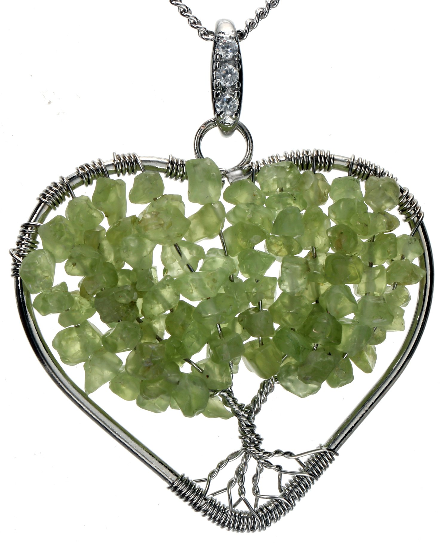 Peridot Heart Necklace Tree Of Life Pendant Brand New Gemstone Jewelry 2Pc Ch.. 12