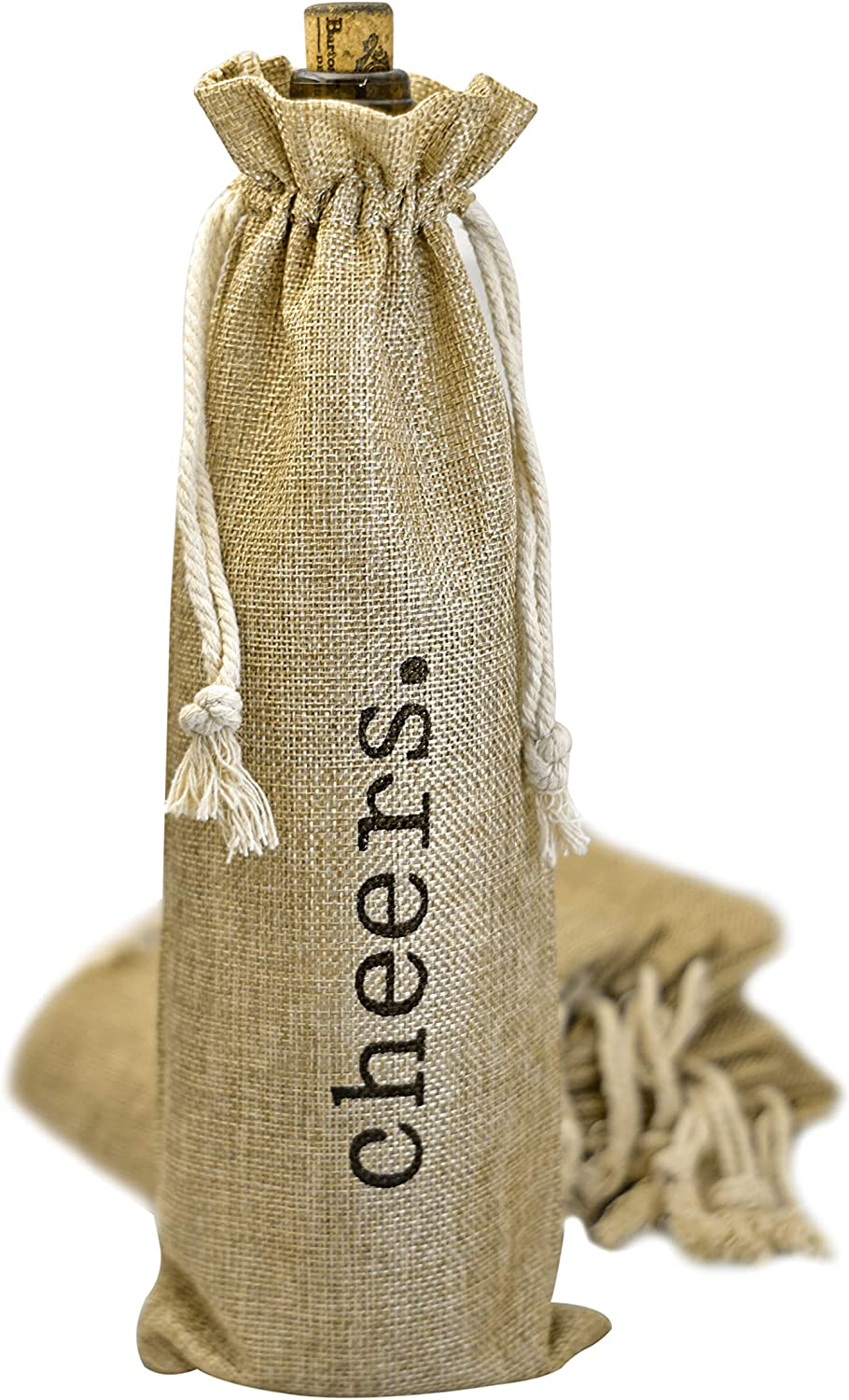"Jute Bottle Bag /""Cheers/"" Hessian"