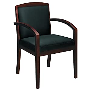 HON Topflight Wood Guest Chair -Leather Seated Guest Chair with Arms, Office Furniture, Mahogany Finish (VL852)