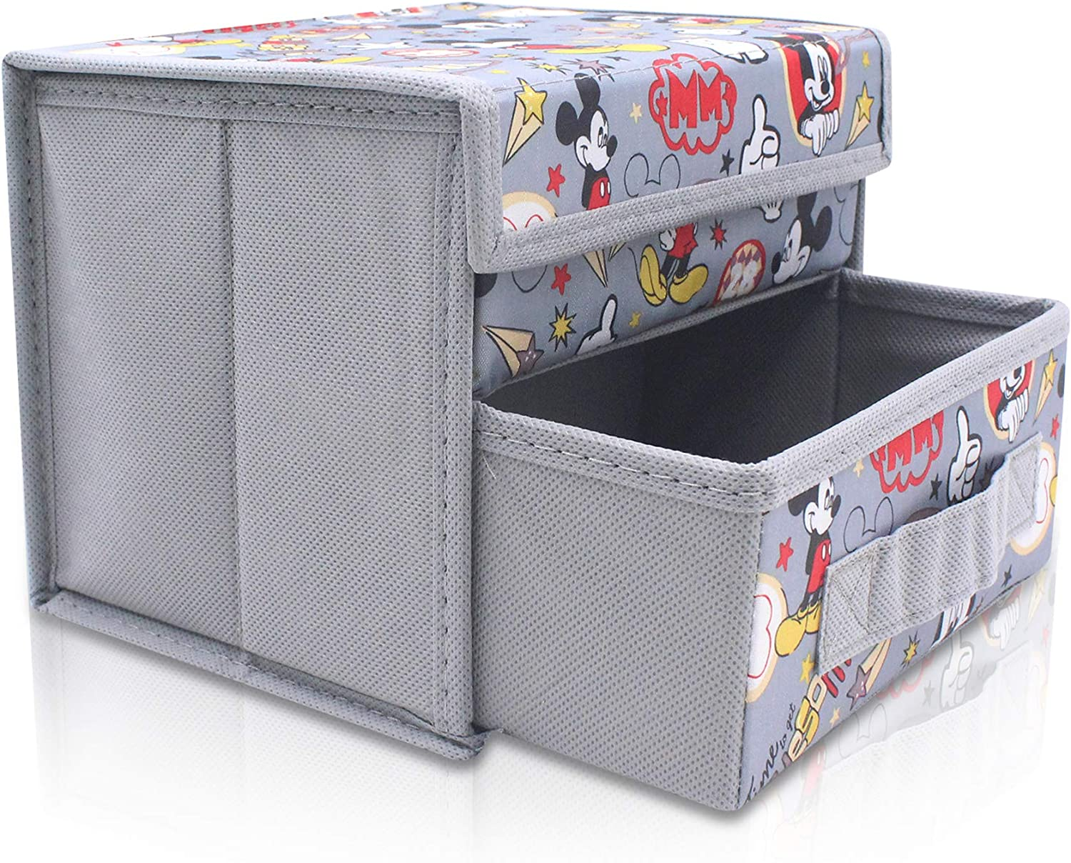 Finex Mickey Mouse Gray Grey Foldable Storage Organizer Box for Desk - with Removable Drawer Collapsible