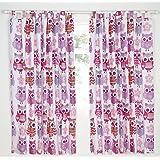 Catherine Lansfield - Cortinas (2 unidades, tamaño pequeño, 60% algodón y 40% poliéster), diseño de lechuzas, color rosa