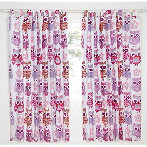 Catherine Lansfield Owl Easy Care Tab Top Curtains Multi, 66x72 Inch