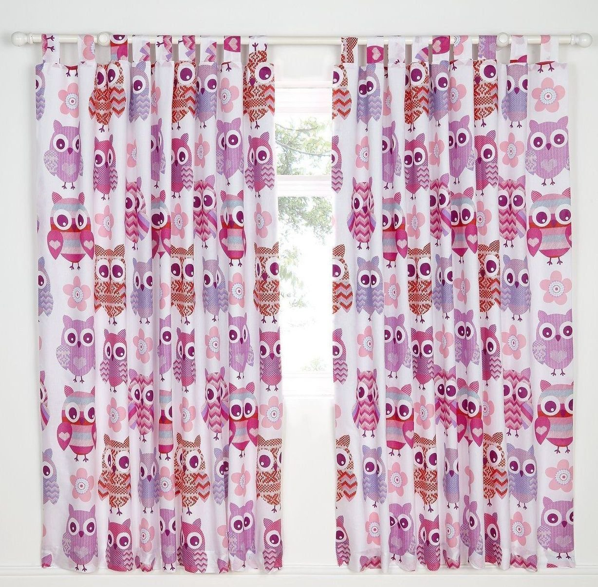 Catherine Lansfield Owl Easy Care Tab Top Curtains Multi 66x72 Inch