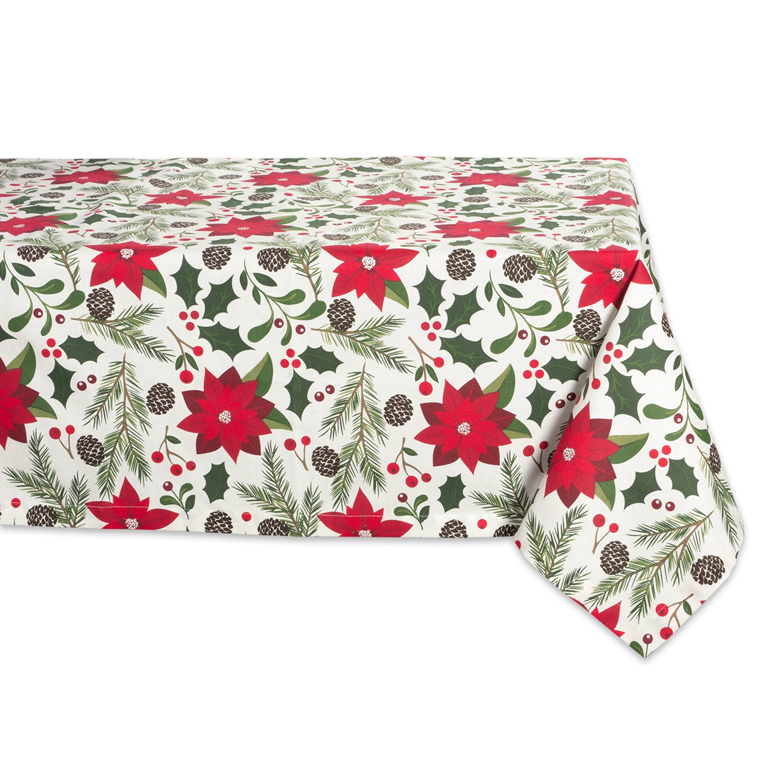 DII 100% Cotton, Machine Washable, Dinner and Holiday Tablecloth - 60x104'' Seats 8 to 10 People, Woodland Christmas