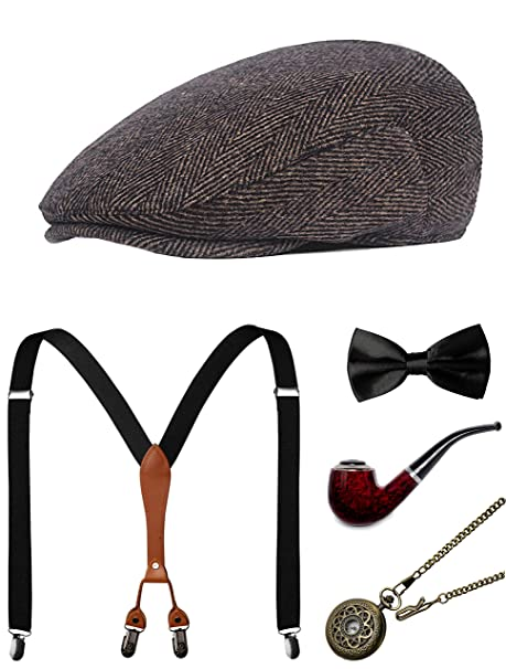 1c49d751b59dec Amazon.com: 1920s Mens Accessories Gatsby Gangster Costume Accessories Set  Manhattan Fedora Hat Suspenders Bow Tie Pocket Watch (1-Coffee Set):  Clothing
