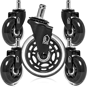 Office Chair Wheels - Set of 5 Office Chair Casters - Rollerblade Style Heavy Duty - Chair Casters that Protect all Floors (Including Hardwood Floors) – Get Rid of Chair Mats - Universal Fit