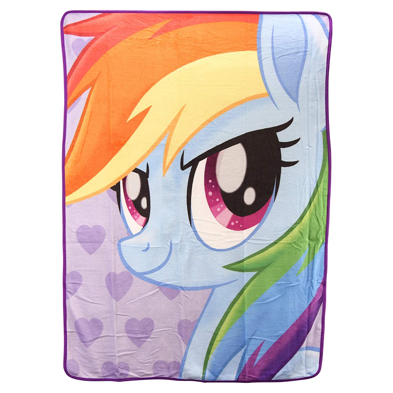 "Northwest Kid's Colorful Character Micro Raschel Throw Blanket 46"" x 60"" (My Little Pony Rainbow Dash)"