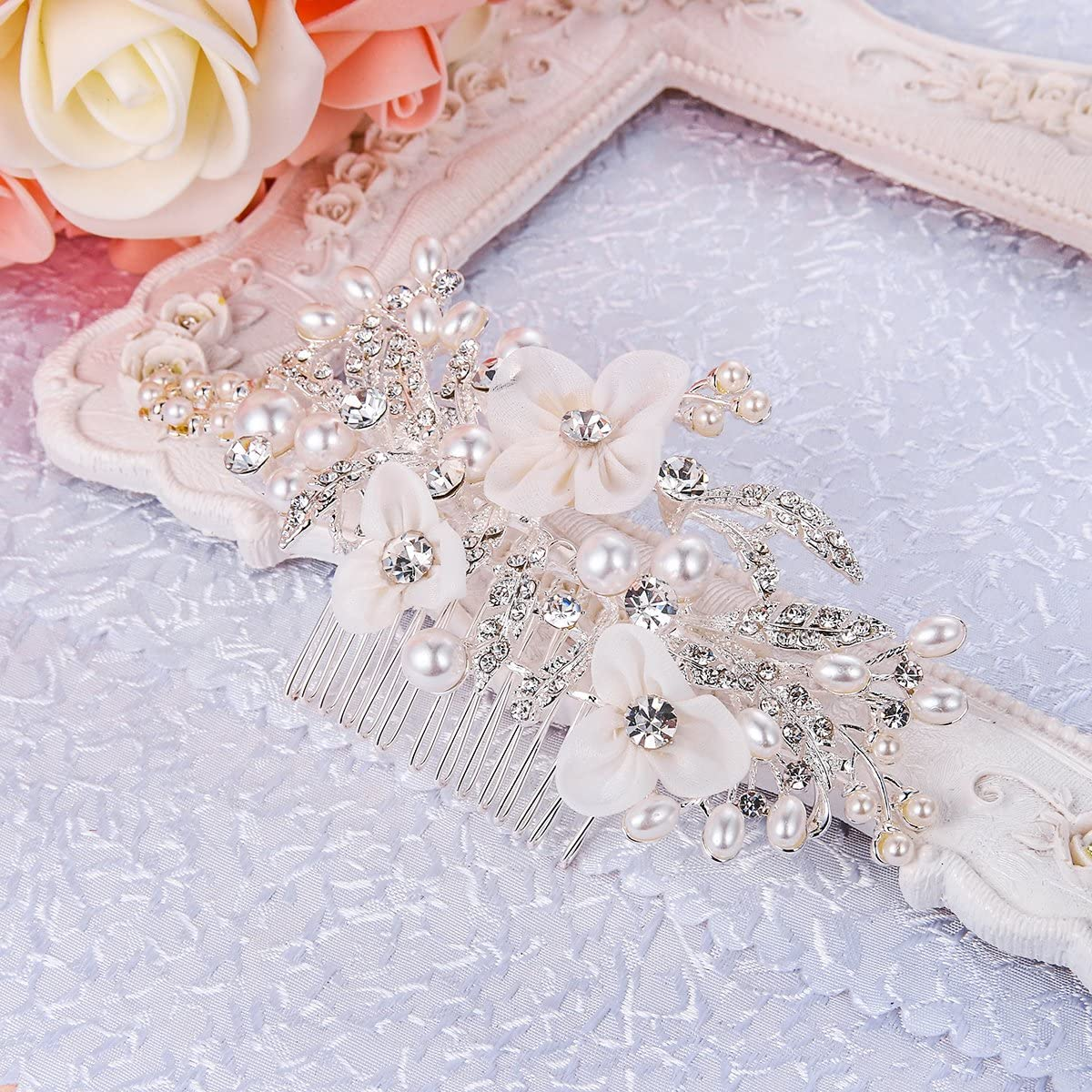 Clearine Womens Bohemian Ivory Color Simulated Pearl Bridal Crystal Hollow Flower Hair Comb Clear Silver-Tone