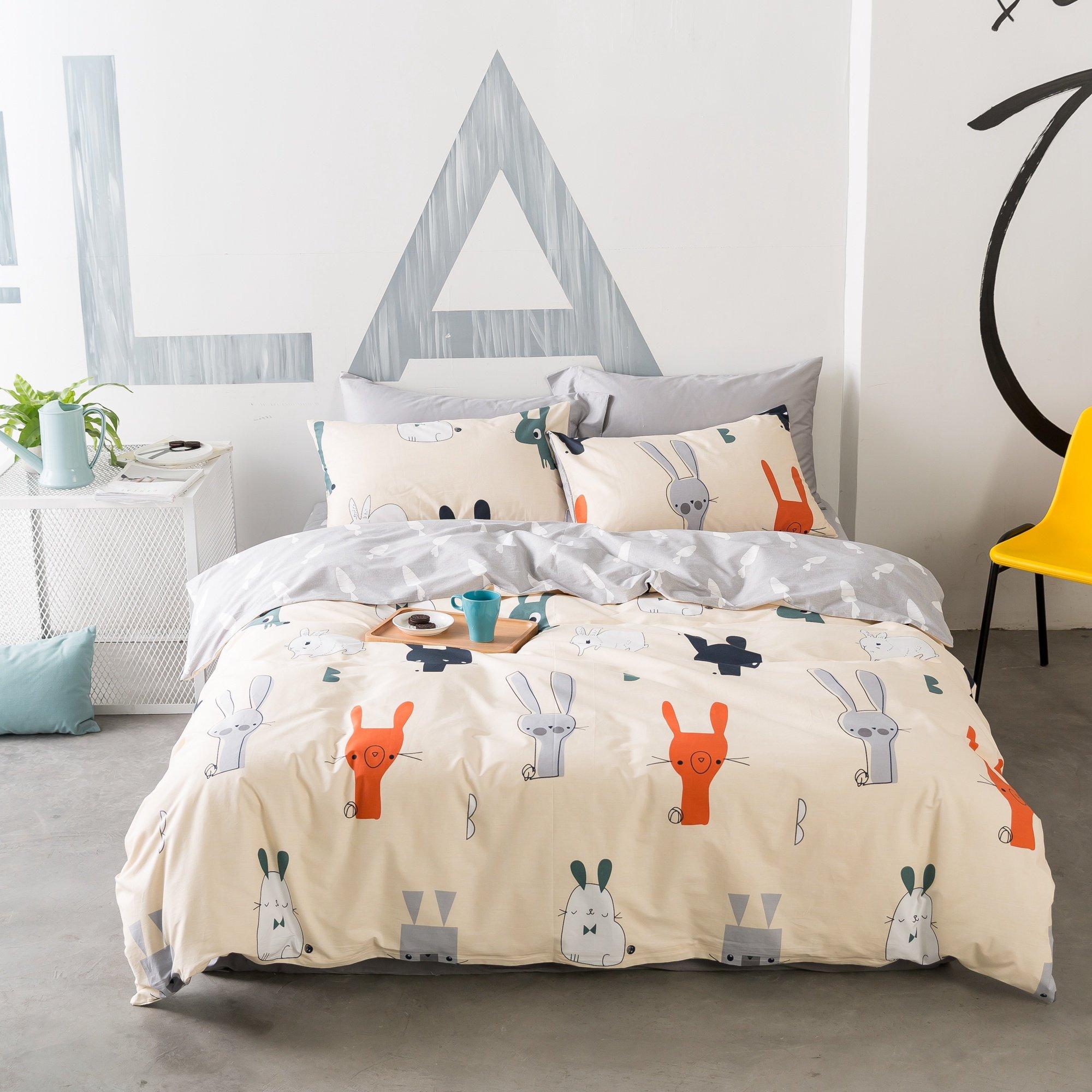Beddinginn Cotton Bunny Bedding Set Cute Bed Cover Set for Girls Reversible 3pcs Bed Duvet Cover Set (Twin)