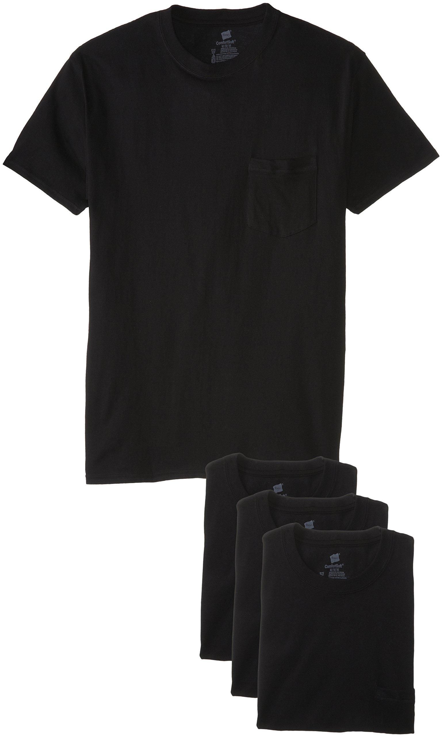 Hanes Men's 4-Pack FreshIQ Assorted Pocket T-Shirt, Black, X-Large
