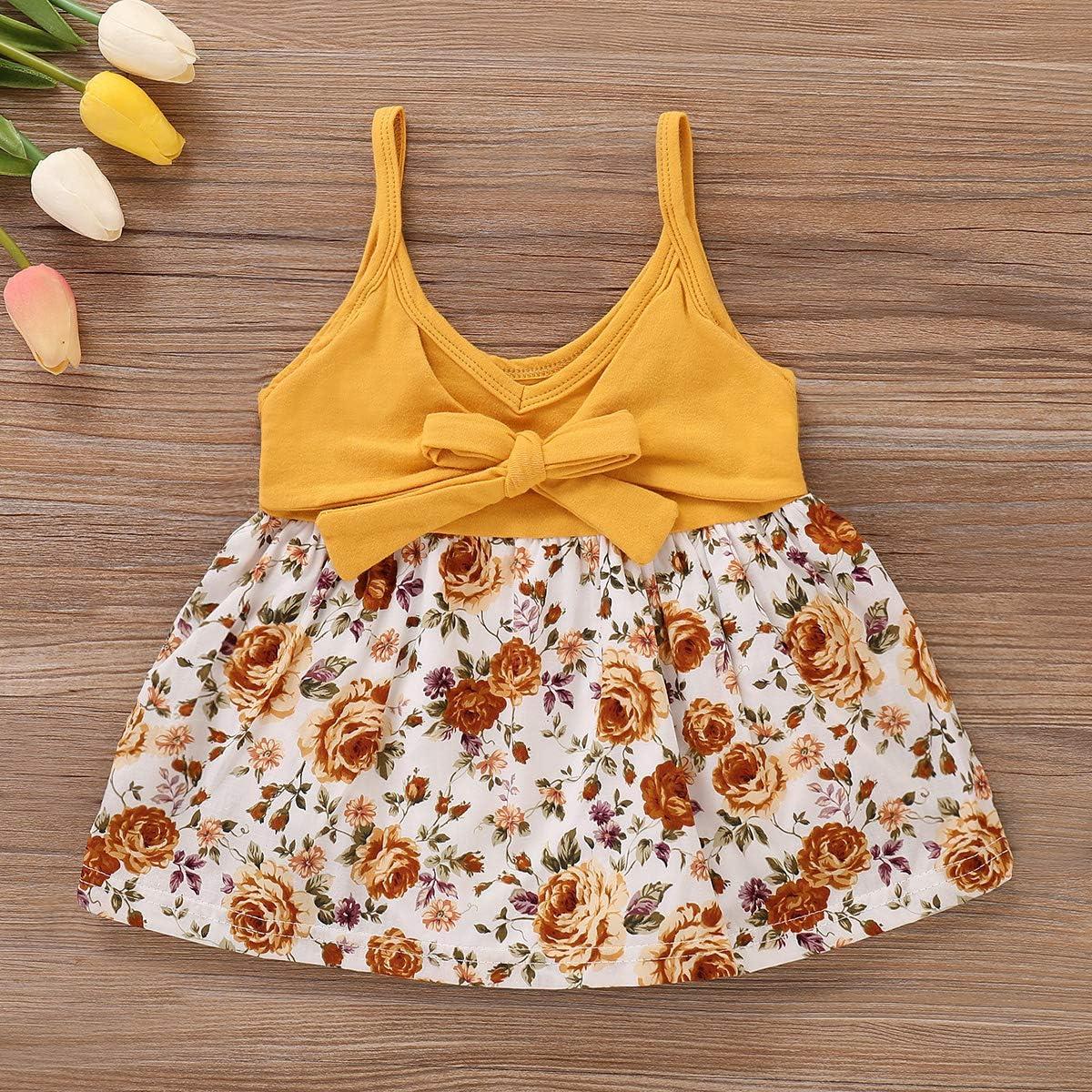 Baby Toddler Girl Floral Sleeveless Dress Bowknot Suspender Sundress