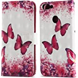 Ooboom Huawei P Smart Case Wallet 3D Magnetic Flip Folio PU Leather Cover Kickstand Card Holder for Huawei P Smart - Butterfly Rose