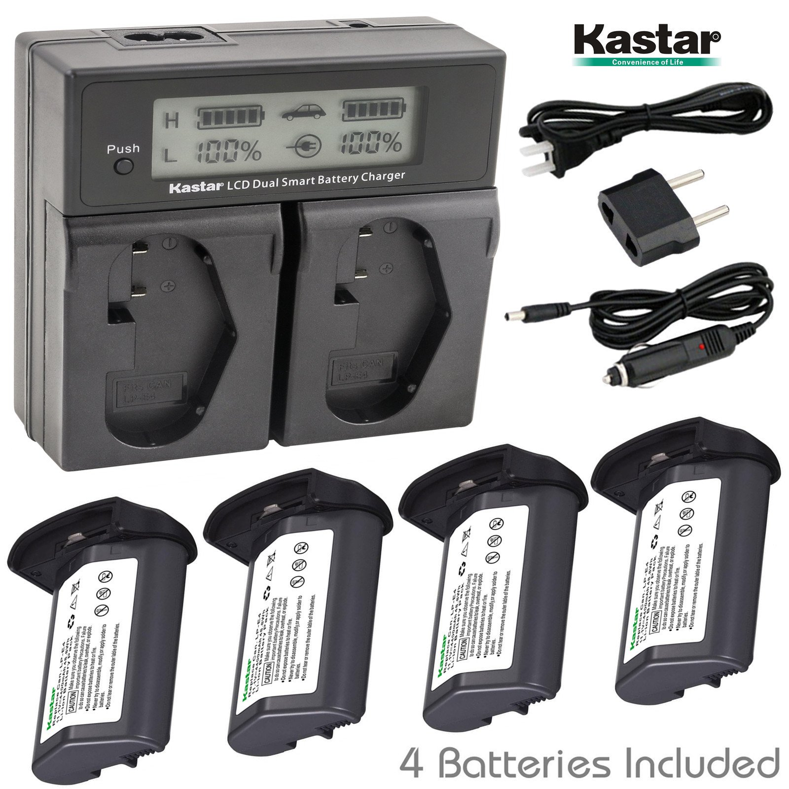 Kastar LCD Dual Smart Fast Charger & Battery (4 PACK) for Canon LP-E4, LPE4 (11.1V 4400mAh 48.4Wh) and Canon EOS-1D C, EOS-1D Mark III, EOS-1Ds Mark III, EOS-1D Mark IV Cameras