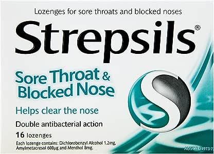 Strepsils Sore Throat & Blocked Nose Lozenges Antibacterial (Count of 16)