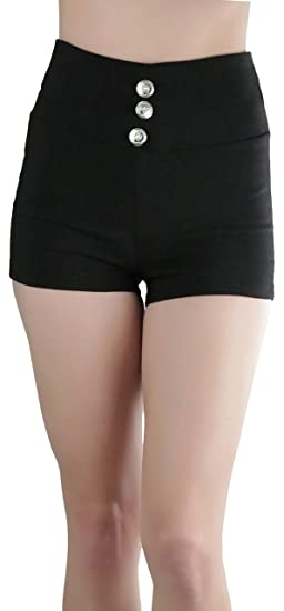 three button high waisted shorts