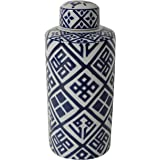 A&B Home 69667 Valora Blue & White Ceramic Cylinder Jar With Lid, 6 by 14-Inch