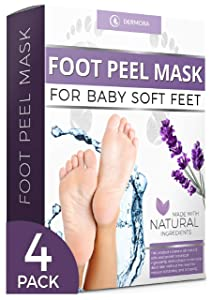 Foot Peel Mask - 4 Pack - For Cracked Heels Dead Skin Calluses - Make Your Feet Baby Soft Get Smooth Silky Skin - Removes Rough Heels, Dry Toe Skin Natural Treatment