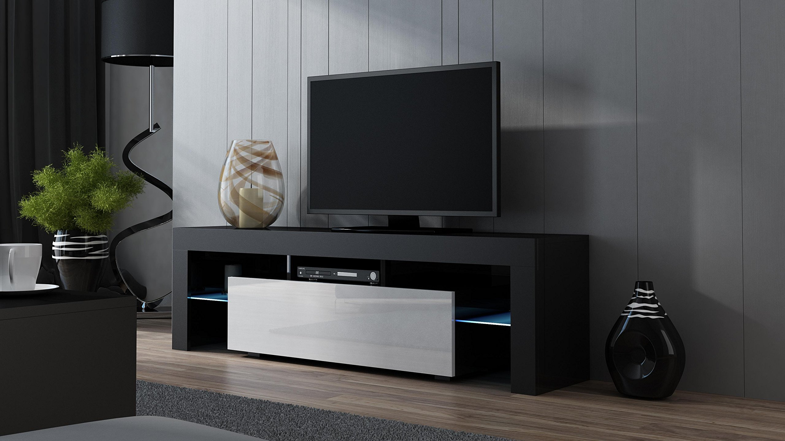 TV Stand MILANO 160 Black- TV Cabinet with LEDs - Living Room Furniture - TV Console for up to 70'' TV screens - TV stand with LED lights (Black & White)