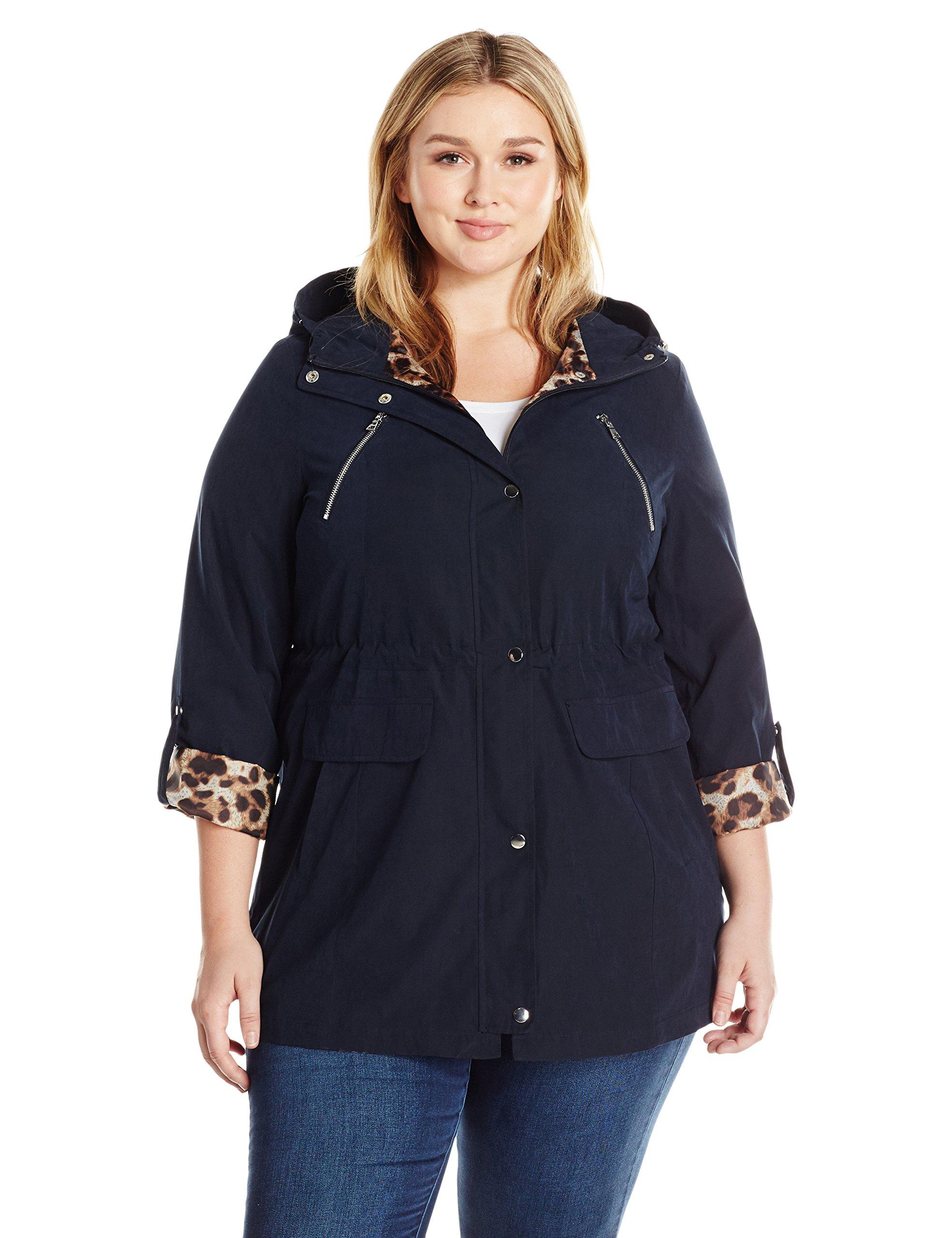 Lark & Ro Women's Size Utility Jacket Plus, Micronavy, 3 X